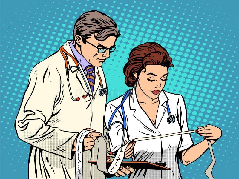 Lekarki i pielęgniarki przyglądający kardiogram ilustracji
