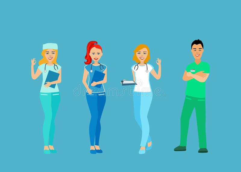 Lekarki i pielęgniarki w mundurze Ludzie z zawodem lekarza ilustracji