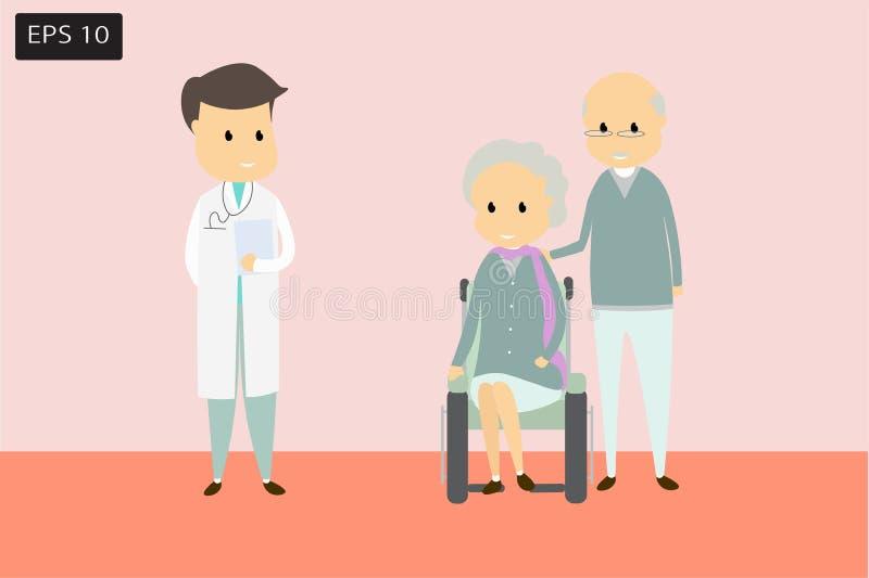 Lekarki i starszych osob stojak opowiadać traktowanie Płaski kreskówki pojęcia pozytywnego kierunku szczęście z zielenią i pomara obrazy royalty free
