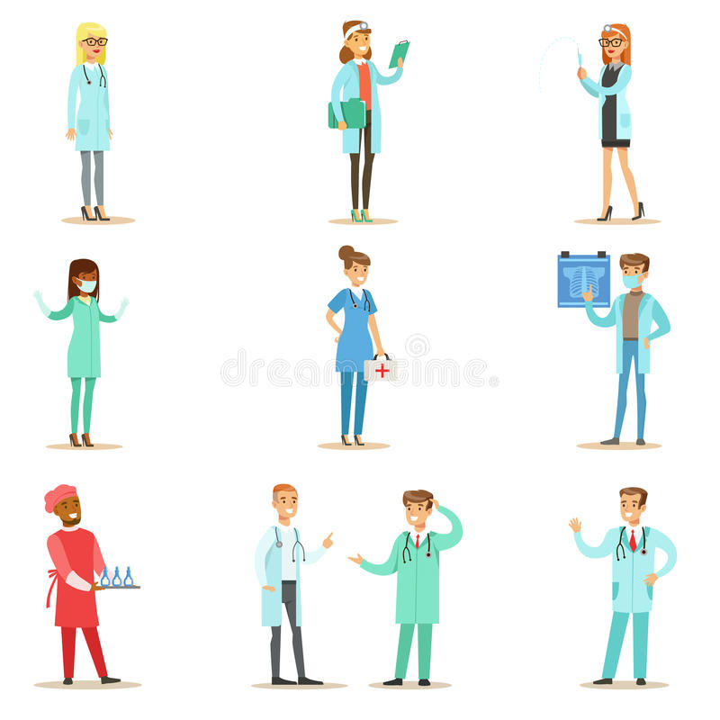 Lekarki Jest ubranym Medycznych pętaczek Jednolitego działanie W szpitalu Ustawiającym opieka zdrowotna Z Różnymi specjalizacjami royalty ilustracja