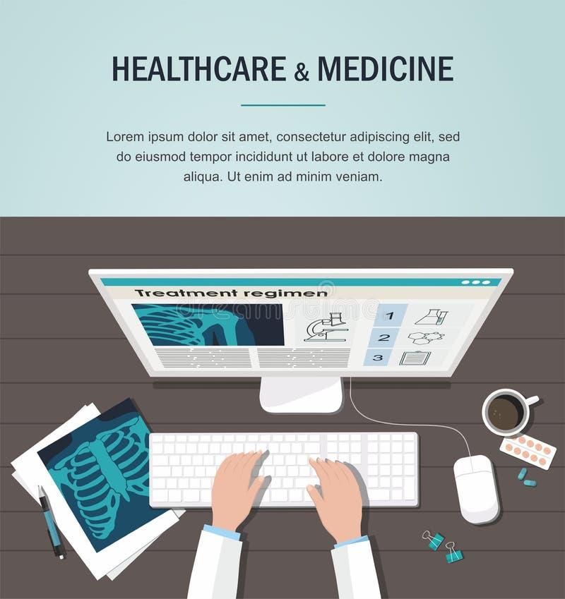 Lekarki stołowa miejsce pracy pojęcie kłama medycyny pieniądze ustalonego stetoskop Radiologiczni płuca, komputer i pigułki, work ilustracja wektor