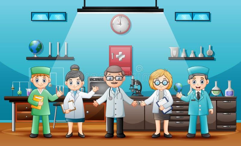 Lekarki z fachowymi chemikami w laboranckim pokoju royalty ilustracja