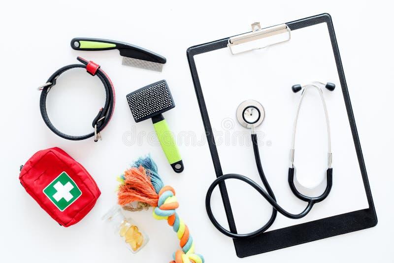 Lekarstw narzędzia dla zwierzę domowe kota i psa z zabawkami, stetoskop dla traktowania w przygotowywać set na białego tła odgórn zdjęcia stock