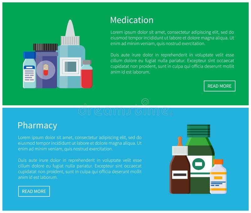 Lekarstwa i apteki sieci plakatów antybiotyki ilustracja wektor