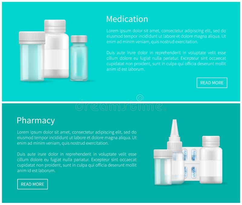 Lekarstwa i apteki sieci plakatów pustego miejsca kapsuły ilustracji