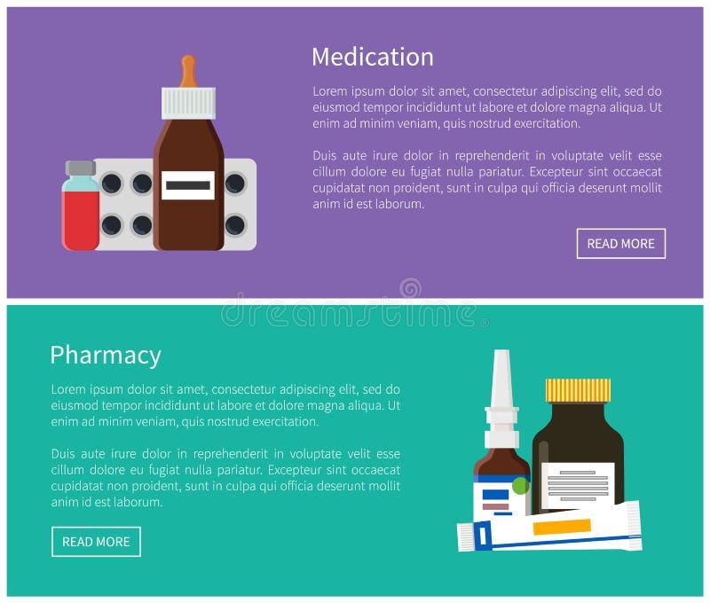 Lekarstwa i apteki sieci Promo plakaty Ustawiający royalty ilustracja