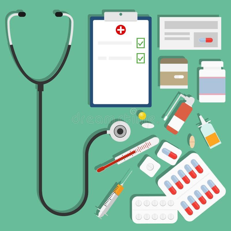 Lekarstwa, set lekarstwa, pigułki, strzykawka, termometr, stetoskop royalty ilustracja