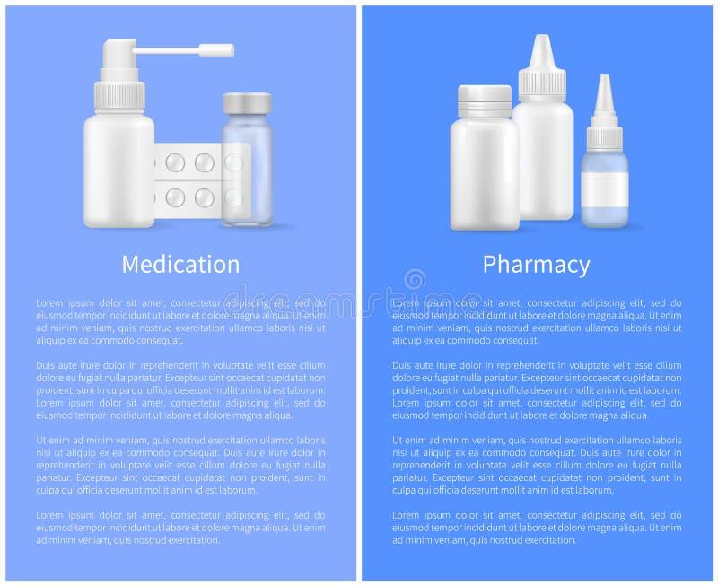 Lekarstwo apteki pigułki butelek Plakatowa Ustawiająca kiść ilustracji