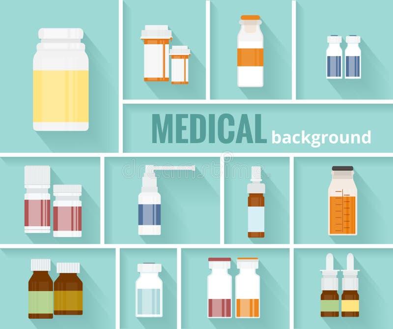 Lekarstwo butelki dla Medycznego tła projekta ilustracja wektor