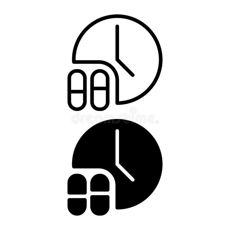 Lekarstwo czasu rozkładu ikony wektor stała logo ilustracja, piktogram odizolowywający na bielu royalty ilustracja