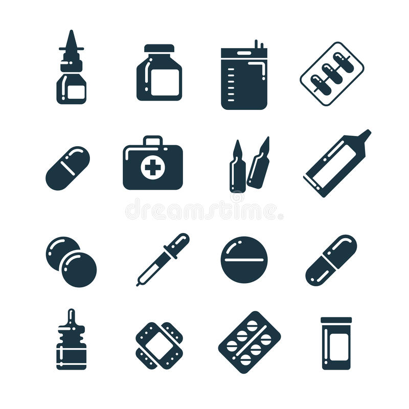 Lekarstwo farmakologii pigułki, pastylki, medycyna butelkują wektorowe ikony royalty ilustracja