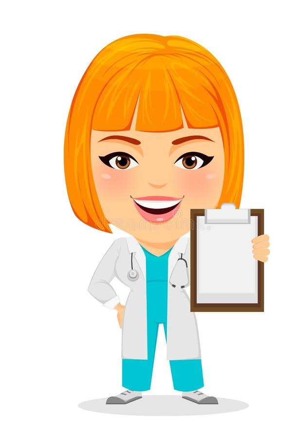 Lekarz medycyny kobiety mienia schowek Śmieszny postać z kreskówki z dużą głową ilustracji