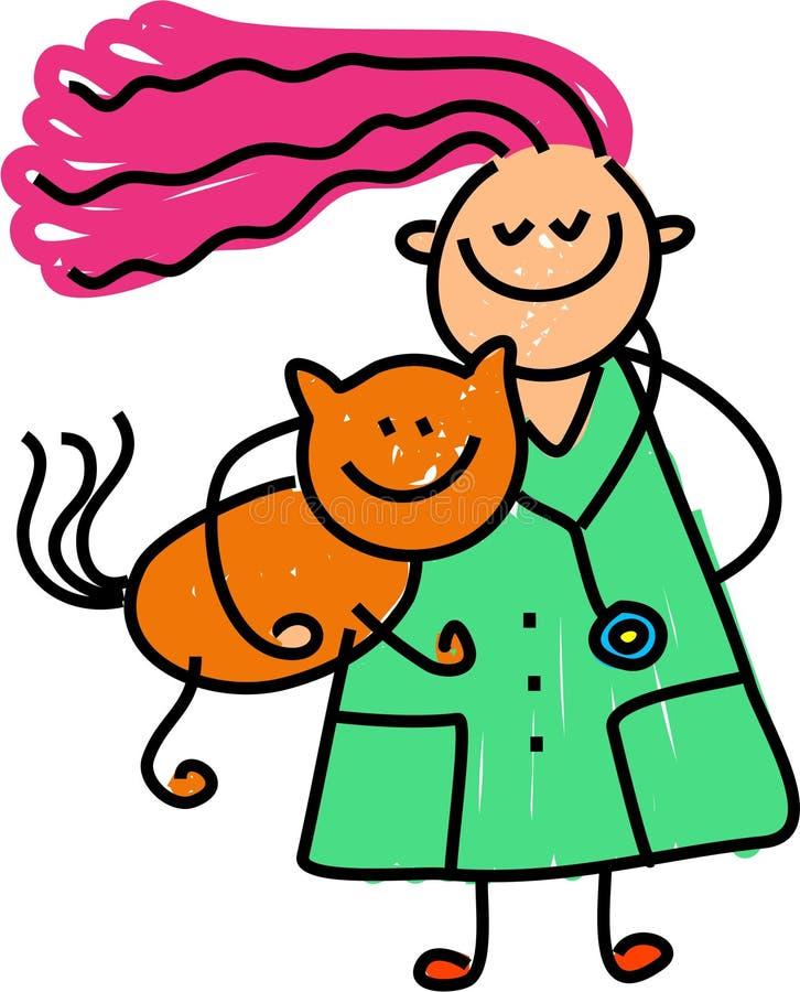 lekarz weterynarii dzieciaka. ilustracji