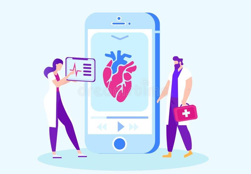 Lekarze StudiujÄ…cy Kurs na temat pracy w trybie online ilustracji