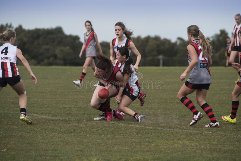 Lekaustraliern för unga kvinnor härskar fotboll royaltyfri fotografi