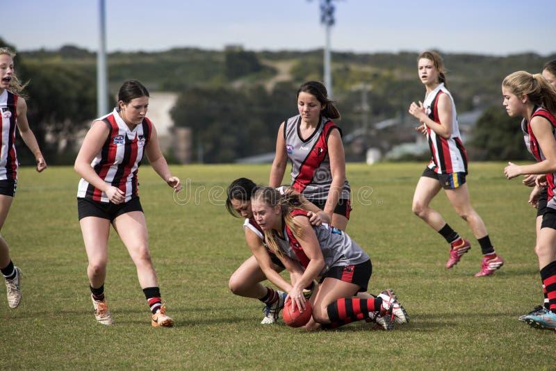Lekaustraliern för unga kvinnor härskar fotboll arkivbilder