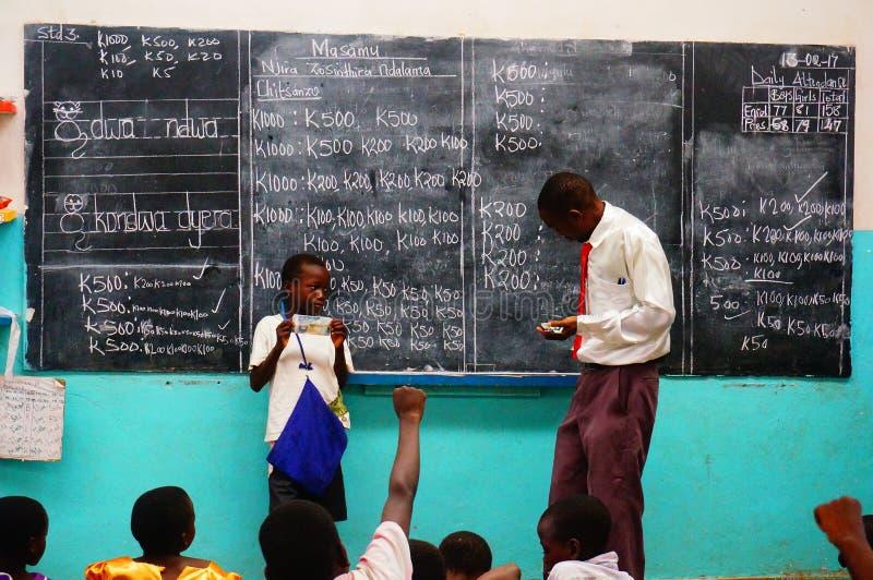 Lekcja w szkole, Malawi, Afryka obrazy royalty free