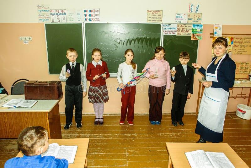 Lekcja w szkole podstawowej w Kaluga regionie (Rosja) fotografia royalty free