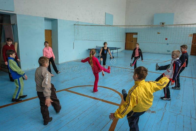 Lekcja w szkole podstawowej w Kaluga regionie (Rosja) fotografia stock