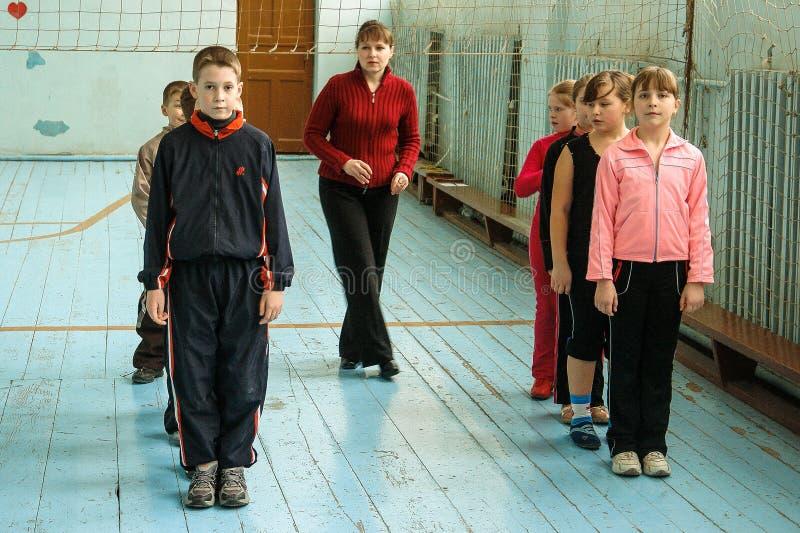 Lekcja w szkole podstawowej w Kaluga regionie (Rosja) obrazy stock