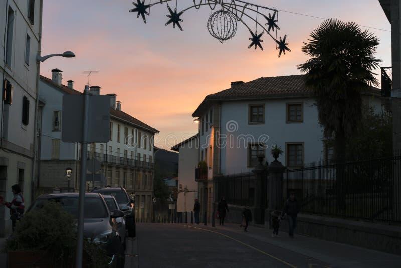 Lekeitio en la puesta del sol foto de archivo libre de regalías