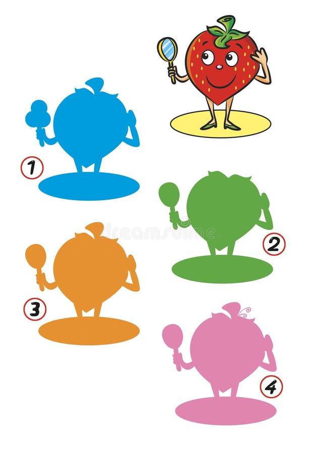 Leken av skuggor, jordgubbe royaltyfri bild