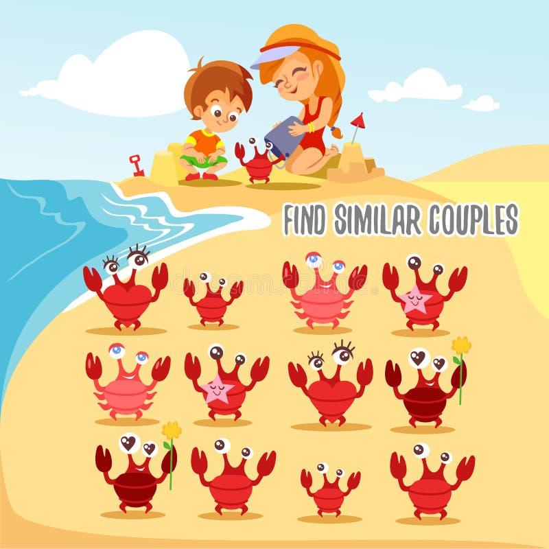 Leken för ungar med att finna sex par av den gulliga tecknade filmen fångar krabbor vektor illustrationer