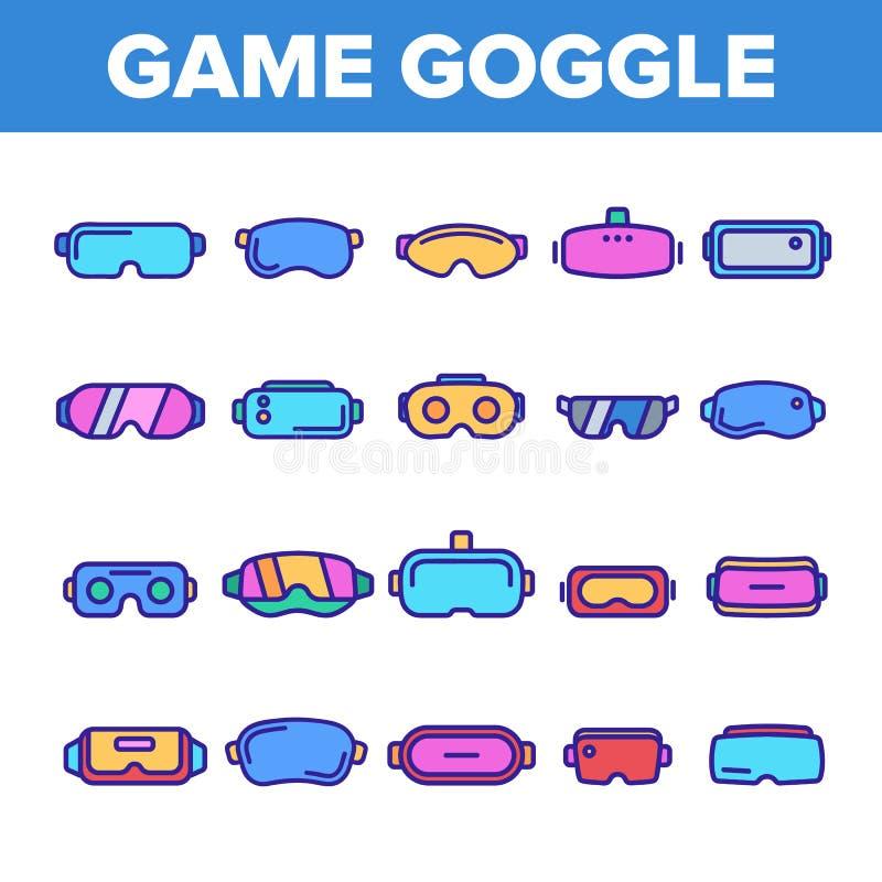 Leken rullar med ögonen vektorfärglinjen symbolsuppsättning stock illustrationer
