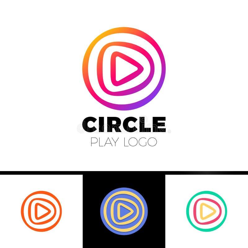Lekfilm - illustration för logomallbegrepp Musik- eller för symbol för filmspelare applikation Multimediatecken Digital tvsymbol royaltyfri illustrationer