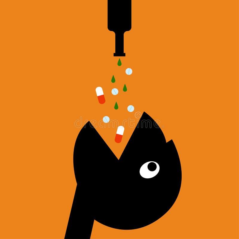 Leki i alkoholu wektoru ilustracja ilustracji