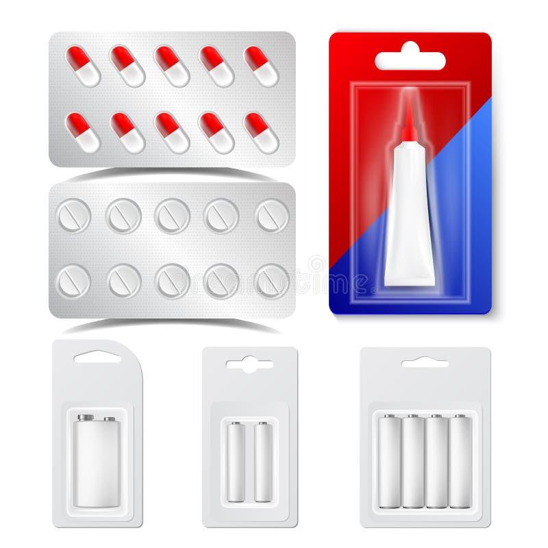 Leki, pigułki, bąble, bateria Wektorowy Realistyczny set ilustracji