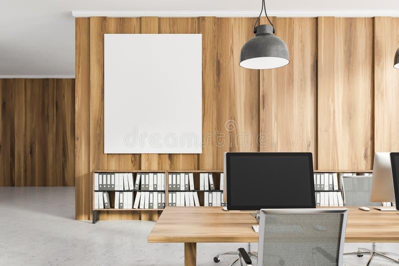 Lekka drewniana biurowa miejsce pracy zamknięta w górę, plakat ilustracja wektor