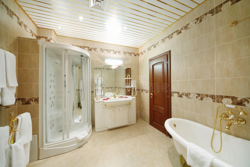 Lekka i czysta łazienka z kabiną zdjęcie royalty free