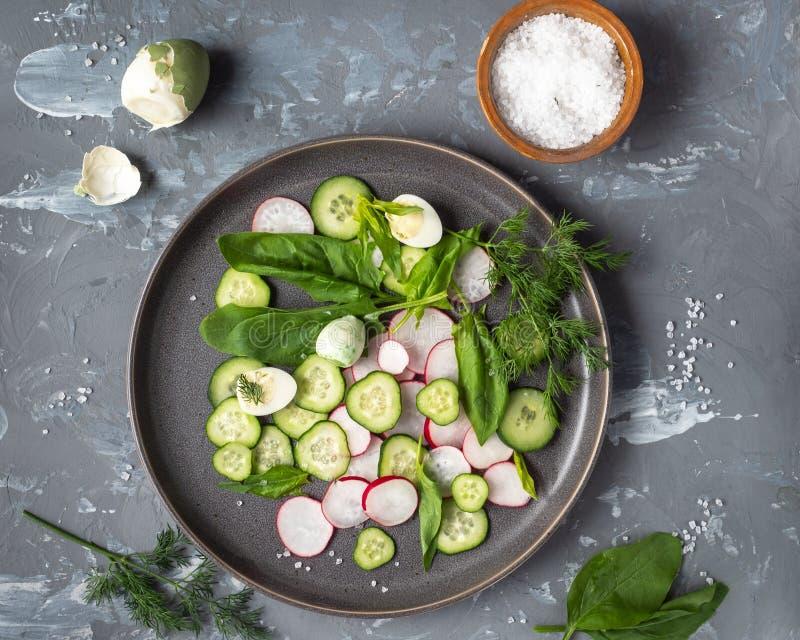 Lekka jarzynowa zakąska ogórki, rzodkwie i szpinaki na, round talerzu, jajkach i soli płycizny soli na szarym tle, obraz royalty free