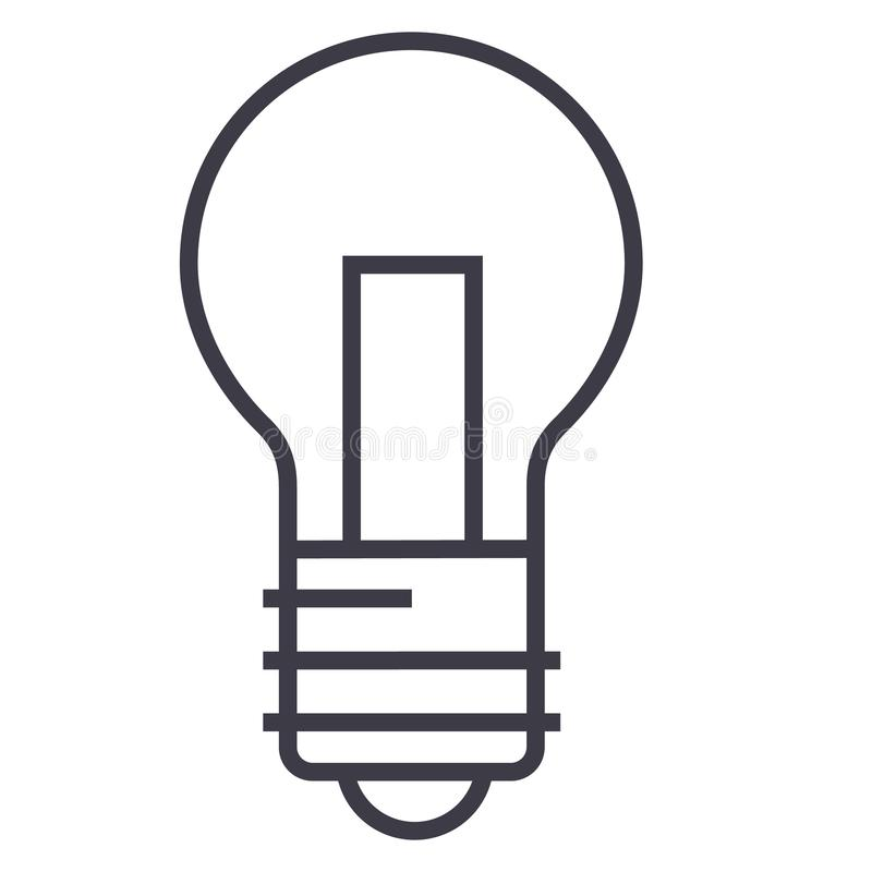 Lekka lampowa wektor linii ikona, znak, ilustracja na tle, editable uderzenia ilustracja wektor