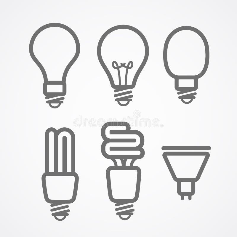 Lekka lampy ikony kolekcja ilustracji