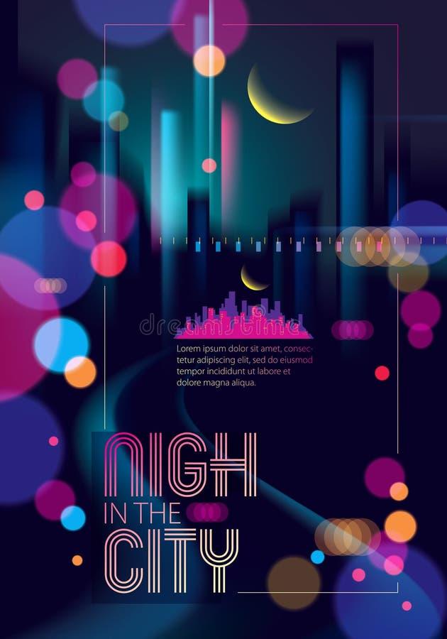 Lekka noc przy miastem zaświeca, bokeh abstrakcjonistyczny tło zamazujący e royalty ilustracja
