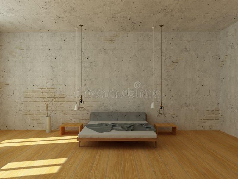 Lekka sypialnia w nowożytnym skandynawa stylu ilustracji