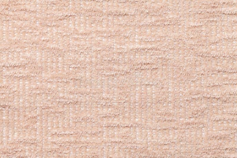 Lekki beżowy puszysty tło miękka część, wełnisty płótno Tekstura pluszowa owłosiona tkanina, zbliżenie obraz stock