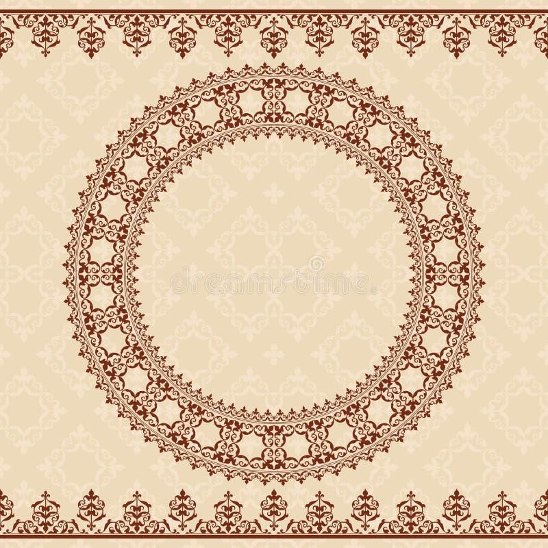 Lekki beżowy tło z brown ornamentem ilustracji