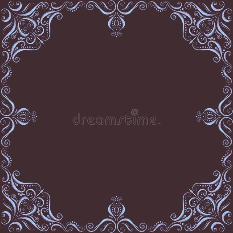 Lekki dekoracyjny ornament na ciemnego brązu tle royalty ilustracja