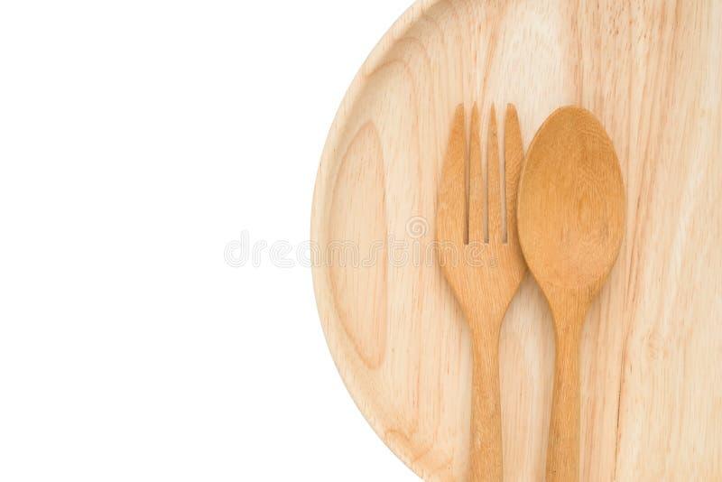 Lekki drewniany naczynie i cutlery fotografia stock