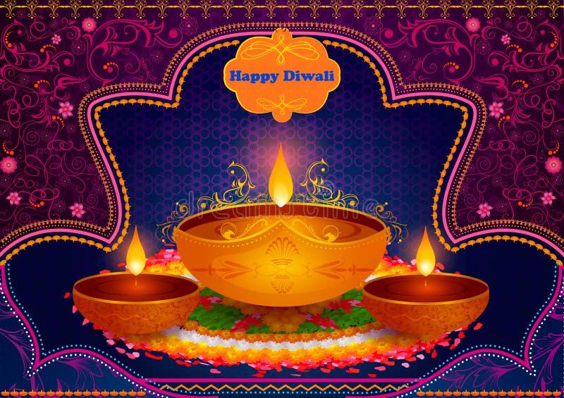 Lekki festiwal India Diwali świętowania Szczęśliwy tło royalty ilustracja
