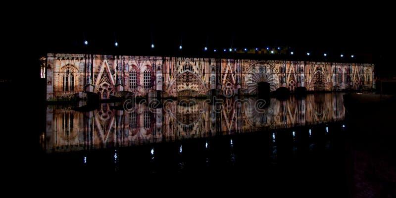 Lekki i dźwięk przedstawienie w Strasburg obraz royalty free