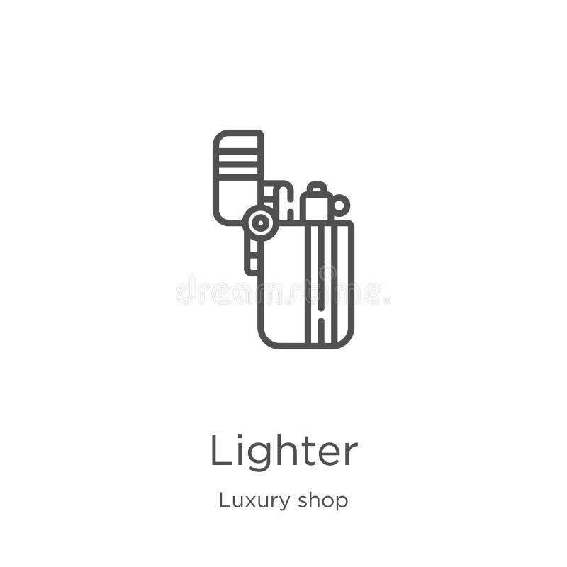 lekki ikona wektor od luksusu sklepu kolekcji Cienka kreskowa zapalniczka konturu ikony wektoru ilustracja Kontur, cienieje kresk ilustracji