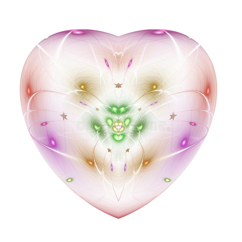 Lekki kolorowy fractal kwiat w odosobnionym sercu royalty ilustracja