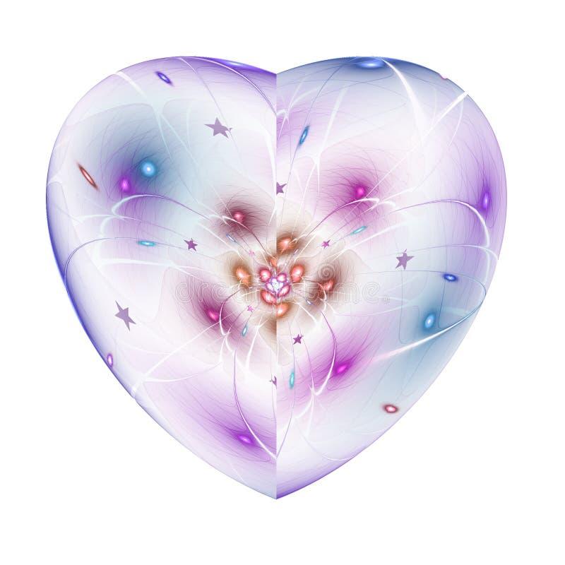Lekki kolorowy odosobniony fractal serce royalty ilustracja