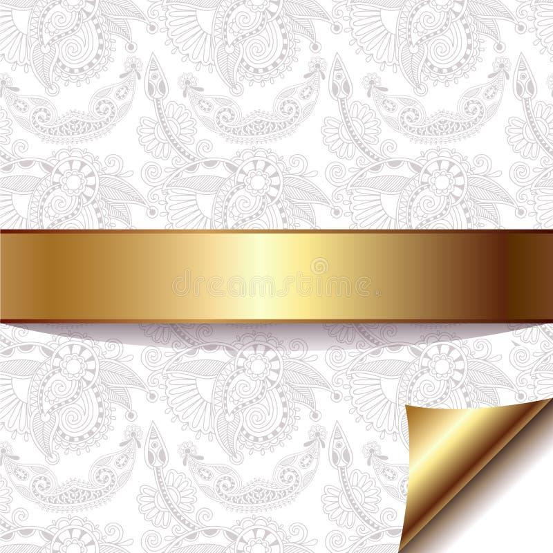 Lekki kwiecisty tło z złocistym faborkiem, eps 10 royalty ilustracja