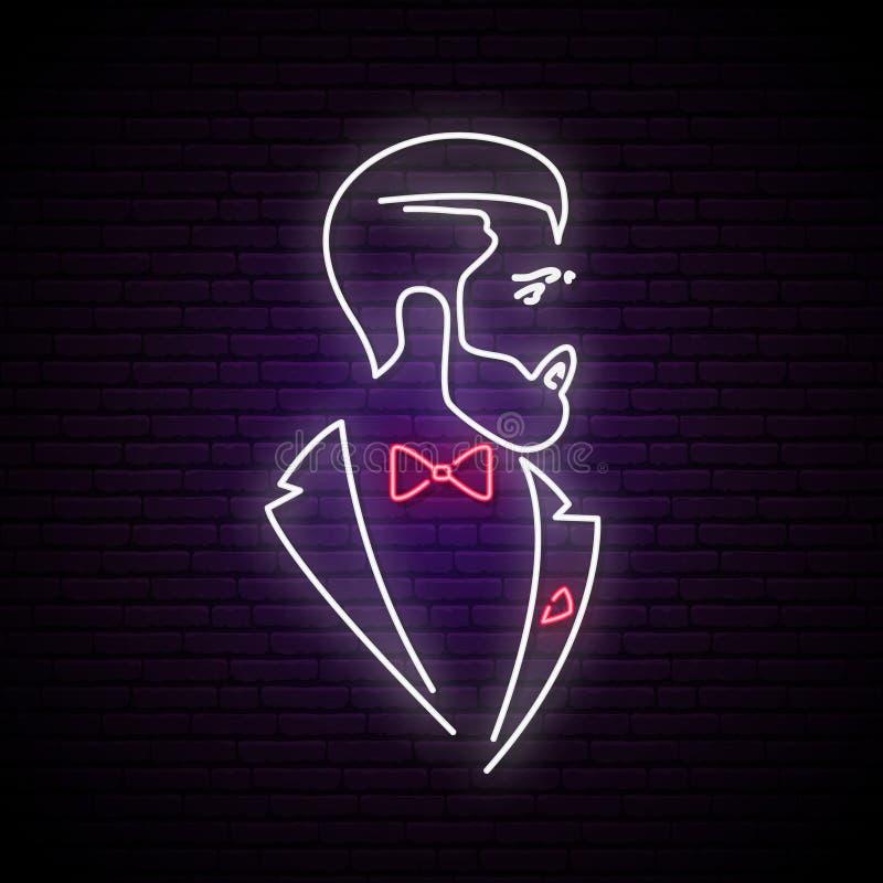 Lekki neonowy signboard z eleganckim dżentelmenem ilustracji