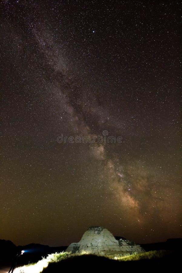 Lekki obraz i Milky sposób w Północnym Dakota zdjęcie royalty free